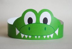 Gator Paper Crown Printable by PutACrownOnIt on Etsy, Crown Crafts, Headband Crafts, Hat Crafts, Crown Printable, Printable Crafts, Printables, Crocodile Craft, Crocodile Costume, Diy For Kids