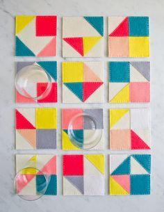 crafty ideas modern coasters. DIY sewing Geometric felt coasters Molly s Sketchbook  Modular Felt Coasters The Purl Bee