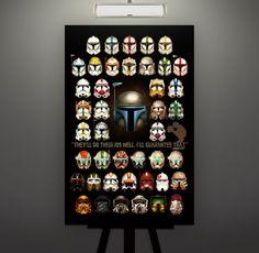 Star Wars Clone Trooper Jango Fett Helmet 11X17 by Herofied