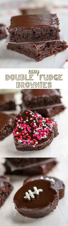 Easy Double Fudge Brownie Hearts and Footballs with the most amazing chocolate frosting ever!