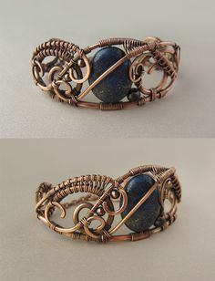 Really pretty copper and Lapis Lazuli bracelet by UrsulaOT on Deviant Art.