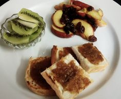 Sugar free fig jam on toast, kiwi fruit with apple and sultana's pan warmed with honey!