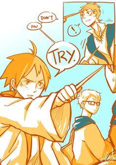 Short comic! 2/2  Haikyuu!! x Harry Potter crossover  Tsukishima x Yamaguchi