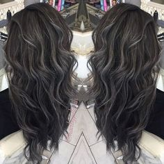 """136 Likes, 8 Comments - Pelagia (Penny)   Hair Stylist (@hairbypelagia) on Instagram: """"Grey Series Grey Balayage on a level 3 dark base. #hairbypelagia #balayage #greybalayage…"""""""