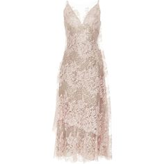 Rodarte Lace V-Neck Dress (242 460 UAH) ❤ liked on Polyvore featuring dresses, rodarte, pink, drape dress, v neck midi dress, pink dress, pink midi dress and pink v neck dress