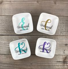 Bridesmaid Gifts Made of Honor Gift Bridal Party Gift Made Of Honor, Bridesmaid Proposal Box, Bridesmaid Gifts Diy, Vinyl Monogram, Monogram Jewelry, Monogram Ring Dish, Maid Of Honour Gifts, Jewelry Dish, Personalized Wedding Gifts
