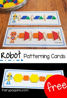 These hands-on patterning activities suit preschool and kindergarten math centers. The free patterning cards help kids make patterns using pattern blocks. Free patterning mats to use with pattern blocks. Great for preschool and kindergarten math centers. Kindergarten Lesson Plans, Preschool Lessons, Preschool Activities, Preschool Shapes, Preschool Projects, Math Patterns, Teaching Patterns, Shape Patterns, 2 Kind