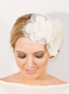 "NOTE: All pictures, designs are original design, handmade and © Designs by Portobello. Please see my shop ""POLICIES"" http://www.etsy.com/shop/portobello/policy.    Add instant romance to a vintage-inspired bridal look with this gorgeous premium silk flower clip.  For a statement boho chic ...    $79"