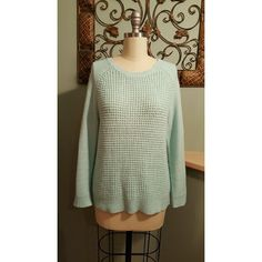 Sweater Long-sleeved mint green/blue Forever 21 sweater. 100% acrylic. Gently used. Forever 21 Sweaters Crew & Scoop Necks
