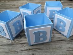 ABC Baby Block Centerpiece Block Baby Boy by TBQBoutique on Etsy