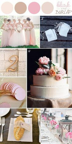 Burlap in Weddings - Blush & Natural Color Palette... Throw in some blue and it would be perfect for me. :)