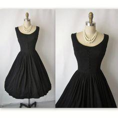 50's Cocktail Dress // Vintage 1950's Black Cocktail Party Full Mad Men Dress S