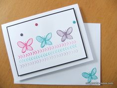 Stampin Up Garden in Bloom stamp set. Butterflies stamped in Melon Mambo, Tempting Turquoise and Wisteria Wonder