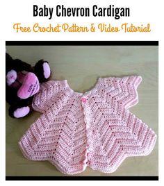 Star Shaped Baby Chevron Cardigan Free Crochet Pattern and Video Tutorial