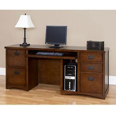 Mission Oak Computer Credenza and Keyboard, MO689M