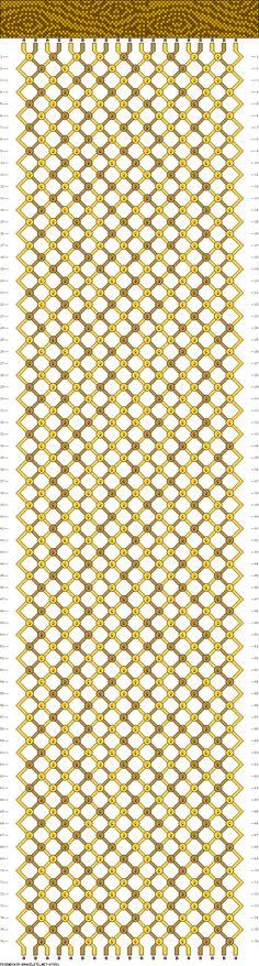 Woodgrain friendship bracelet pattern, 19 strings, 76 rows, 2 colors