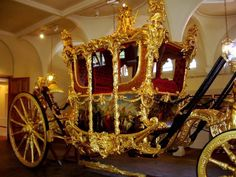 The Gold State Coach is an enclosed, eight horse-drawn carriage used by the British Royal Family. It was built in the London workshops of Samuel Butler in 1762 and has been used at the coronation of every British monarch since George IV. The coach's great age, weight, and lack of maneuverability have limited its use to grand state occasions such as coronations, royal weddings, and the jubilee(s) of a monarch.    The coach weighs four tons and is 24 feet (7.3 m) long and 12 feet (3.7 m) high.