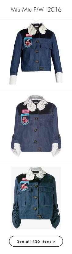 """Miu Miu F/W  2016"" by mariots22 ❤ liked on Polyvore featuring outerwear, jackets, miu miu, denim, blue jean jacket, blue jackets, beaded jacket, blue floral jacket, blue and blue lace jacket"