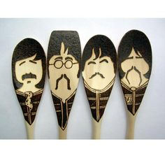 Sgt. Pepper Moustache Spoons - Wooden - Set of 4 Beatles on Etsy, R$75,86