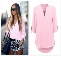 07c8da8aeae European Fashion women summer blouse sexy v-neck sleeve Lady casual blusas plus  size xl white pink Women Tops solid shirts