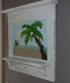 Sea Glass Art -Sea Glass Palm Tree and Sailboat