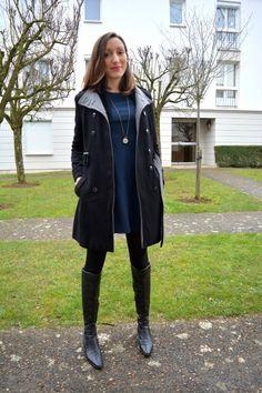 Robe @Pimkie - manteau noir @camaieu - bottes noires @minelliOfficiel