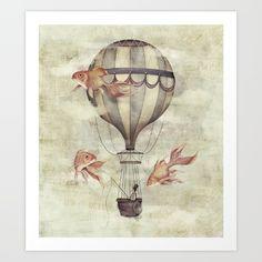 pencil, drawing, illustration, art, retro, vintage, old, hotair balloon, balloon, fish, goldfish, animal, abstract,