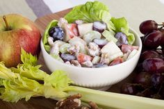 Healthy WaldorfSalad  1 c. organic chopped apples  1 c. organic chopped celery  1 c. organic halved red grapes  ½ lemon  ½ c. chopped walnuts  ½ - ¾ c. organic Greek plain yogurt  Squeeze juice from lemon over apples, mix in all other ingredients, & stir. Chill for 45 minutes to 1 hour. Serve & enjoy!