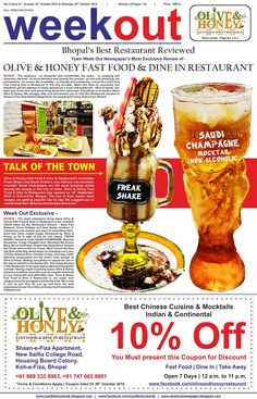 #Olive #and #Honey #fast #food #& #dine #in #restaurant is the #Best #Restaurant in the city of lakes - #bhopal. #rated & #reviewed #by #Week #Out #Newspaper. #saudi #champagne #non-alcoholic #mocktail and #freak #shakes have became #talkofthetown. #thankyou #bhopal @syedfaizmubarak @oliveandhoneyrestaurant