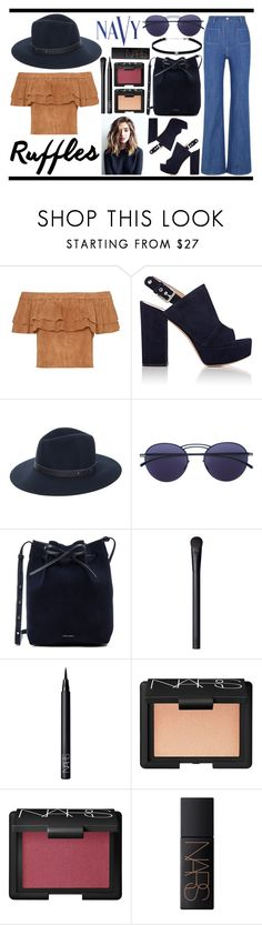 """""""navy n' ruffles"""" by livingalonewithmyonlythoughts ❤ liked on Polyvore featuring Gianvito Rossi, rag & bone, Mykita, Mansur Gavriel, NARS Cosmetics, COVERGIRL and Carbon & Hyde"""