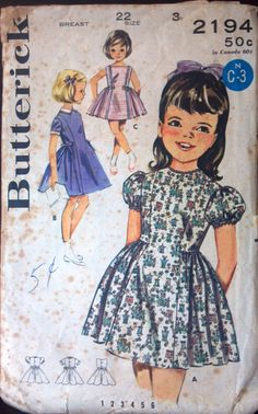 Butterick 2194, Girls Semi-Princess Dress Pattern, Size 3, 1950s or 1960s. $6.00, via Etsy.
