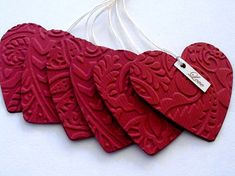 Use textured wallpaper or paper. use for gift tags - Valentine's