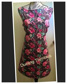 Simply A-Mazing A line sewing and embroidery custom Luau theme floral print Dress with cotton fabric. Made by a local seamstress.