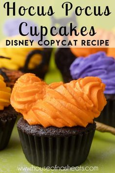 """These Hocus Pocus Cupcakes will put a spell on you this Halloween season! With a rich dark chocolate base, peanut """"boo-tter"""" filling, and homemade vanilla buttercream frosting, this fun Halloween cupcakes recipe is inspired by Disney's latest seasonal desserts and the infamous Sanderson Sisters! 