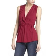 Anthropologie Leifnotes Draped Peplum V Neck Top M Excellent Condition Maroon / Burgundy Color Anthropologie Tops Tank Tops