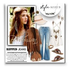 """""""Bohemian Ripped Jeans - Polyvore Style Insider"""" by helenehrenhofer ❤ liked on Polyvore featuring Mary Kay, Trilogy, rag & bone, Lizzy James, LE3NO, Patricia Nash, CUSTO LINE, The Sak, denim and boho"""
