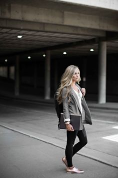 back to school style, street style, fall fashion, blazer, leather backpack, blonde hair, @HP, hp spectre #ad