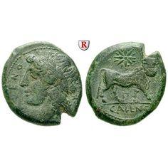 Italien-Kampanien, Cales, Bronze 265-240 v.Chr., ss+: Bronze 21 mm 265-240 v.Chr. Kopf des Apollo l. mit Lorbeerkranz CALENO /… #coins