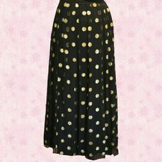"Skirt Vintage Yvette elegant design Paris black skirt with gold Mylar 1 inch dots  with black lining . It is 37 inches long. size 36 euro/ 8 U.S.the waist is a set in waist and measures 29.5"" with a Back zipper Yvette  Dresses"