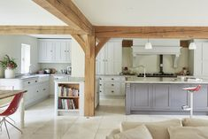 Border Oak - Open Plan Kitchen/Dining/Seating area in a large Barn. Whole House Ventilation, Border Oak, Oak Front Door, Oak Framed Buildings, Oak Frame House, Open Plan Kitchen Dining, Modern Farmhouse Interiors, Room With Plants, Large Bedroom