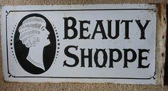 C1920s Art Deco Enamel Beauty Salon Advertising Sign 2 Sided