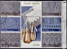 Picture of SPAIN - CIRCA Collection stamps dedicated to the Spanish craft shows different types of lace, circa 1989 stock photo, images and stock photography. Types Of Lace, Lacemaking, Bobbin Lace, Different, Textile Art, Handicraft, Spanish, Crafts, Collection