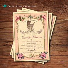 Elegant Baby Girl Shower Invitation. Vintage baby shower. Pink rose vintage French label. Victorian shabby chic. Vintage baby carriage B50