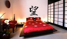 #oriental, #decor, love the idea of Chinese letters/ sayings behind bed