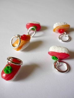 Sushi stitch markers set of 5 polymer clay by AbsoKnittingLutely, £8.00