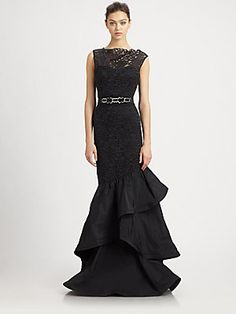 Teri Jon Lace-Trimmed Taffeta Gown--Where was this when I was looking for a Mother of the Bride dress???