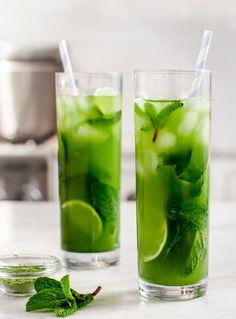 Cool off with a tall glass of matcha mint iced tea