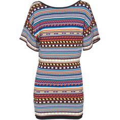 EMILIO PUCCI Bold Graphic Mini Blue Orange Patterned fine knit dress (£330) ❤ liked on Polyvore featuring dresses, vestidos, short dresses, orange summer dresses, short mini dresses, mini dress and blue dress