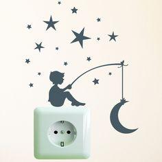 Wandtattoo Lichtschalter  Steckdose Sterne Mond   von wandtattoo-loft via dawanda.com