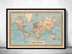 Vintage World Map 1876 Mercator projection World On Mercators Projection.  This is a reprodution of an highly detailed vintage map. The Map has